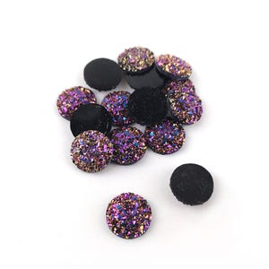 Purple/Black AB Resin 12mm Calibrated Druzy Coin Cabochons Pack Of 15 Y15100