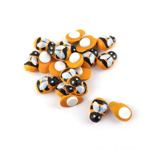 Yellow/Black Smooth Wood 9mm x 12mm Bee Cabochons Pack Of 20 Y15115