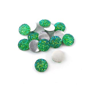 Green AB Resin 12mm Calibrated Druzy Coin Cabochons Pack Of 15 Y15120