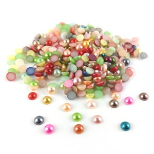 Mixed-Colour Pearlised Acrylic 6mm Calibrated Dome Cabochons Pack Of 300+ Y15140