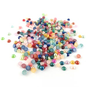 Mixed-Colour Pearlised Acrylic 4mm Calibrated Dome Cabochons Pack Of 300+ Y15145