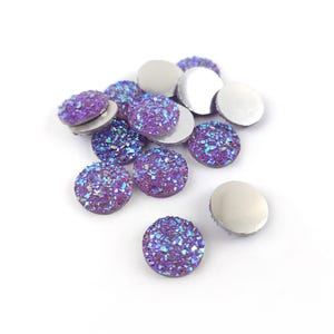 Purple AB Resin 12mm Calibrated Druzy Coin Cabochons Pack Of 15 Y15150