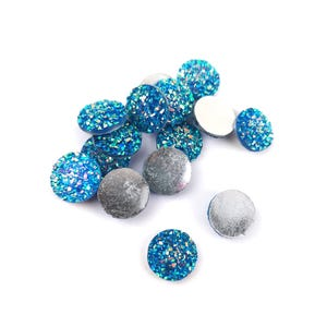 Blue AB Resin 12mm Calibrated Druzy Coin Cabochons Pack Of 15 Y15155