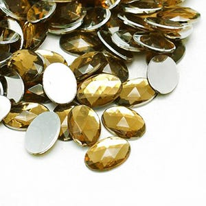 Pale Bronze Smooth Acrylic 20mm x 30mm Calibrated Faceted Oval Cabochons Pack Of 10 Y15160