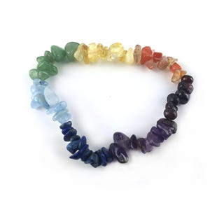 Mixed-Colour Chakra Gemstones One Size Chip Bead Stretchy Bracelet  Y15225