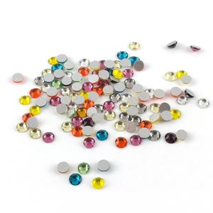 Mixed-Colour Flat Back Non Hot Fix Glass Grade A Rhinestones 3mm Pack Of 100+ Y15285