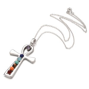 """Silver Platinum Plated & Chakras Ankh Cross 18"""" Pendant Chain Necklace  Y15310"""