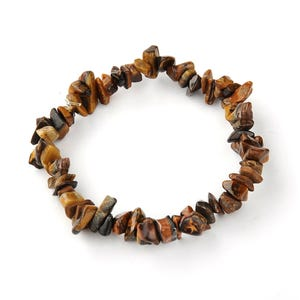 Yellow/Brown Tiger Eye One Size Chip Bead Stretchy Bracelet  Y15335