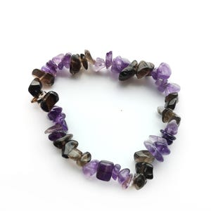 Purple/Brown Amethyst & Smoky Quartz One Size Chip Bead Stretchy Bracelet  Y15385