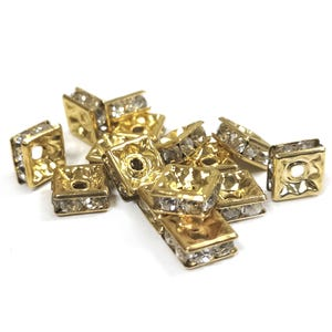 Gold Rhinestone Brass Square Spacer Beads 6mm x 3mm Pack Of 15 Y15435