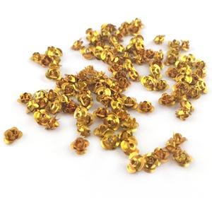 Gold Metallic Aluminium Flower Beads 7mm x 4mm Pack Of 100+ Y15455
