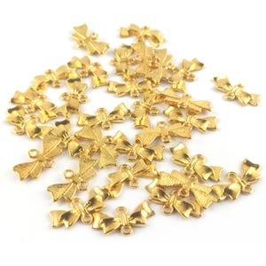 Gold Tibetan Zinc 20mm x 10mm Bow Connectors Pack Of 30 Y15475