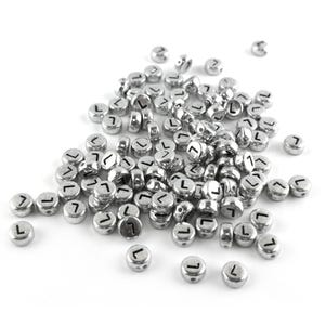 """Silver Letter """"L"""" Acrylic Coin Beads 4mm x 7mm Pack Of 100+ Y15500"""