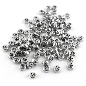 """Silver Letter """"M"""" Acrylic Coin Beads 4mm x 7mm Pack Of 100+ Y15510"""