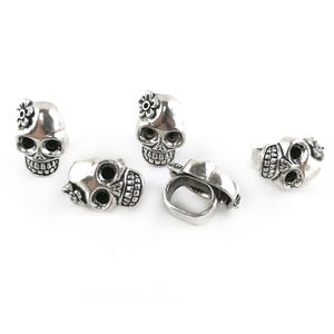 Antique Silver Zinc Alloy Large Hole Skull Beads 13mm x 19mm Pack Of 5 Y15515