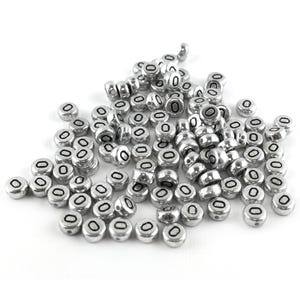 """Silver Letter """"O"""" Acrylic Coin Beads 4mm x 7mm Pack Of 100+ Y15530"""