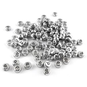 """Silver Letter """"P"""" Acrylic Coin Beads 4mm x 7mm Pack Of 100+ Y15540"""