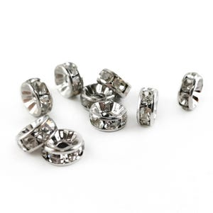 Silver Rhinestone Brass Rondelle Spacer Beads 3.5mm x 8mm Pack Of 10 Y15555