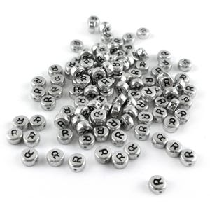 """Silver Letter """"R"""" Acrylic Coin Beads 4mm x 7mm Pack Of 100+ Y15560"""
