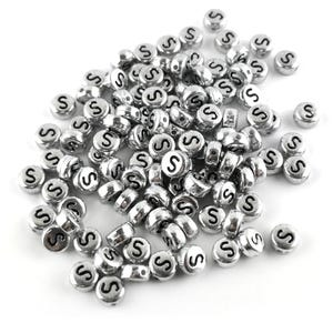 """Silver Letter """"S"""" Acrylic Coin Beads 4mm x 7mm Pack Of 100+ Y15570"""