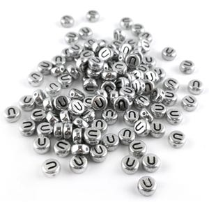 """Silver Letter """"U"""" Acrylic Coin Beads 4mm x 7mm Pack Of 100+ Y15590"""