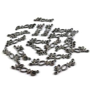 Black Tibetan Zinc 32mm x 10mm Love Connectors Pack Of 20 Y15635