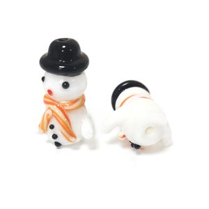 White Lampwork Glass Snowman Beads 16mm x 24mm Pack Of 2 Y15655