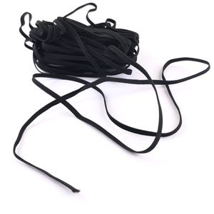 Black Elastic Flat Cord 10M Continuous Length 0.5mm Thick 3mm Wide Y15675