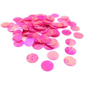 Pink AB Flat Round Acrylic Loose Sequins 16mm Pack Of 150+ Y15740