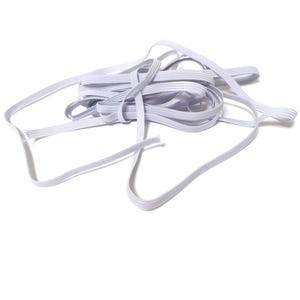 White Elastic Flat Cord 5M Continuous Length 0.7mm Thick 6mm Wide Y15755