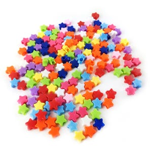 Mixed-Colour Acrylic Pony Star Beads 10mm Pack Of 150+ Y15775