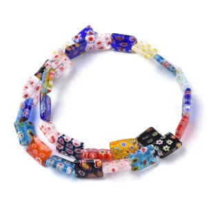 Mixed-Colour Millefiori Glass Flat Rectangle Beads 10mm x 14mm Strand Of 25+ Pieces Y15785