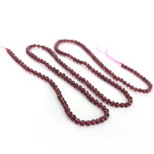 Red Garnet Grade AA Faceted Round Beads 2mm Strand Of 160+ Pieces Y15800