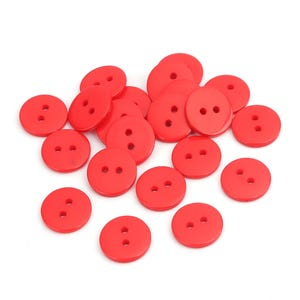 Red Resin 15mm 2-Hole Round Buttons Pack Of 30 Y15845