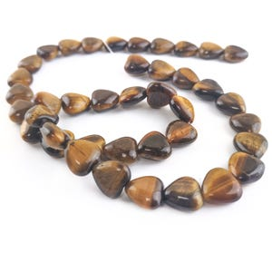 Yellow/Brown Tiger Eye Grade A Puffy Heart Beads 10mm Strand Of 38+ Pieces Y15865