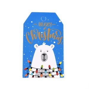 """Blue/White Card Rectangle Gift Tags """"Merry Christmas"""" Polar Bear 3cm x 5cm Pack Of 50+ Y15870"""