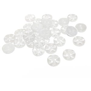 White/Clear Resin 11mm 2-Hole Round Baby Star Buttons Pack Of 30 Y15875