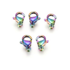 Rainbow 304 Stainless Steel 6mm x 9mm Lobster Clasps Pack Of 5 Y15890