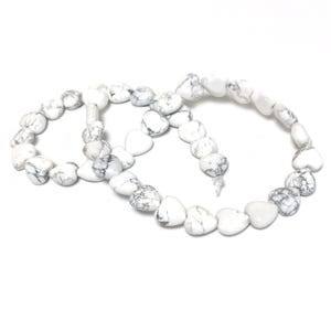 White/Grey Howlite Grade A Puffy Heart Beads 10mm Strand Of 38+ Pieces Y15925