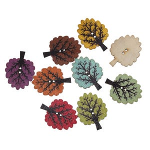 Mixed-Colour Wood 24.5mm x 32mm 2-Hole Tree Buttons Pack Of 25 Y15955