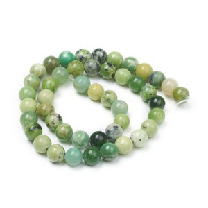 Green Chrysoprase Grade A Plain Round Beads 8mm Strand Of 45+ Pieces Y15965