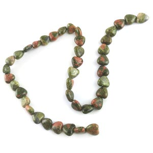 Green/Orange Unakite Grade A Puffy Heart Beads 10mm Strand Of 38+ Pieces Y15970