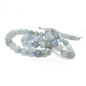 Pale Blue Aquamarine Grade A Plain Round Beads 6mm Strand Of 60+ Pieces Y15975