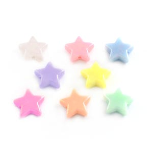 Pastel Mixed-Colour AB iridescent Acrylic Star Beads 14mm x 13mm Pack Of 100+ Y15990