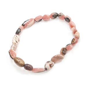 Pink Rhodochrosite One Size Nugget Stretchy Bracelet  Y16000