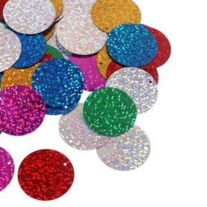 Mixed-Colour Holographic Flat Round Acrylic Loose Sequins 29mm Pack Of 100+ Y16030