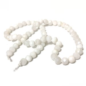 White Moonstone Grade A Faceted Round Beads 6mm Strand Of 60+ Pieces Y16050