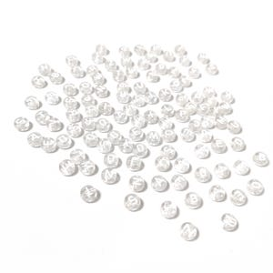 Clear/White Random Alphabet Acrylic Flat Round Beads 7mm x 3.5mm Pack Of 100+ Y16055
