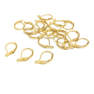 Gold Brass 10mm x 16mm Leverback Earrings Pack Of 20 Y16085