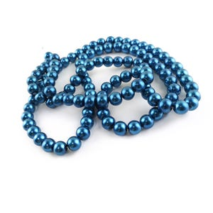 Teal Blue Pearlised Glass Plain Round Beads 8mm Long Strand Of 100+ Pieces Y16100